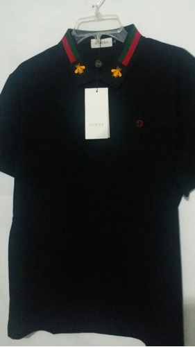 Playera Gucci Abeja Dorada Negro Polo Camiseta 53159b56a8294