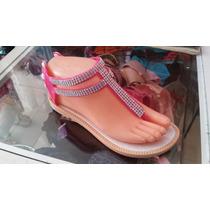 Sandalias De Plástico Con Pedreria