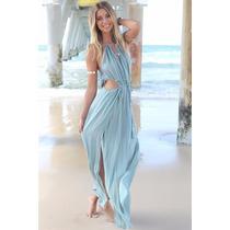 Hermosos Vestido Asiatico Playero ,largo Azul
