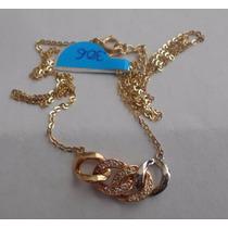 Gargantilla De Eslabones Y Zirconias Oro Florentino 14 K C
