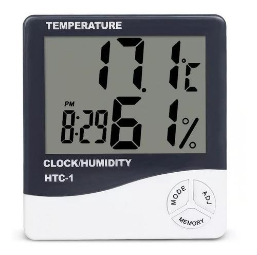 Higrometro Digital Termometro Medidor Humedad Reloj Alarma