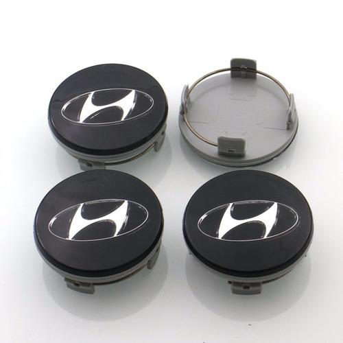 4x Centro Tapón De Rin Hyundai 60mm Negro  - Envío Gratis Foto 1