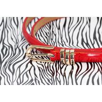 Cinturón Dama Broche Dorado Rojo Cu30
