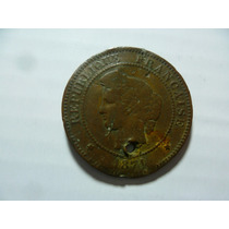 Moneda Antigua Francesa. 5 Centimos 1871,