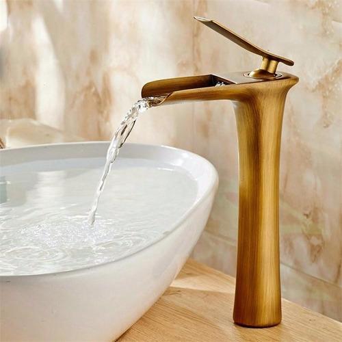 Llave monomando lavamanos cascada acabado bronce antiguo for Llaves para lavamanos precios