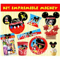 Kit Imprimible Mickey Mouse Tarjetas Cumpleanos Invitacion