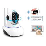 Camara Robotica Wifi Gira 360 Con App,con Sd 16gb +disuasivo