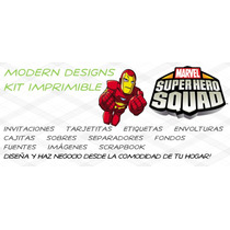Kit Imprimible Super Hero Squad Adornos Invitaciones Y+