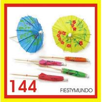 144 Sombrillitas Palillo Madera Coctéles Fiestas Dj Coctel
