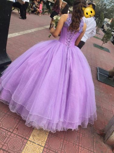 31edf184c7 Vestido De Xv Color Lila Y Rojo Con Tiara