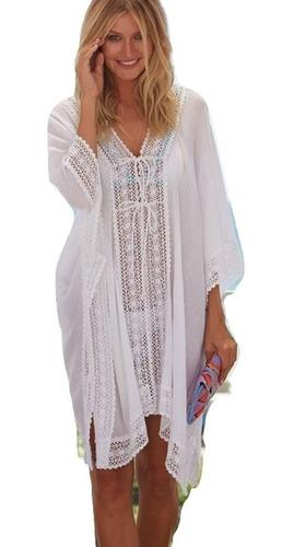 ca118fb51a39 Salida De Playa Vestido Mujer Blusa Bordado Vestido Pareo Cover Up ...