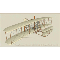 Lienzo Tela Avión Hermanos Wright 1903 The Flyer 50 X 90 Cm