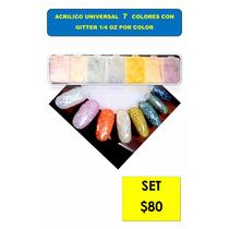 Acrilico Universal Uñas Colores Glitter