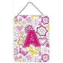 Letra A Flores Y Mariposas Pared De Color Rosa O Puerta Colg