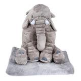 Peluche Elefante 60cm Cobija Almohada Manta Felpa Alta Calid
