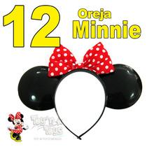 12 Diadema Orejas Con Moño Minnie Mimí Mouse Disney Disfráz