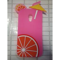 Protector De Goma 3d Bebida Cocktail Pink Moto G2