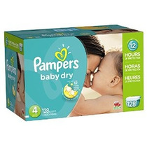 Pampers Baby Dry Pañales Paquete Gigante Tamaño 4 128 Conde