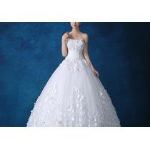 Vestido Novia Xv Años Strapless Flores 3d Perlas Princesa En