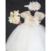 Ropon De Bautizo,paquete Completo,vestido Tutu Kit, Bandita