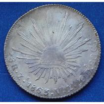 Moneda 8 Reales Zacatecas 1863 V L Escasa Excelente