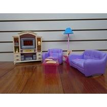 Barbie Tamaño Dollhouse Muebles- Sala De Estar Con Tv / Dvd