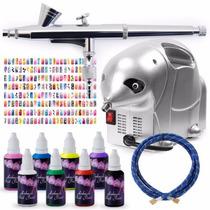 Aerografo Kit Completo Uñas Decoracion Airbrush Pintura