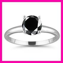 Anillos De Compromiso 14kt De .43ct Diamante Natural Negro
