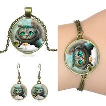 Collar Pulsera Aretes Vintage Gato Alicia País Maravillas
