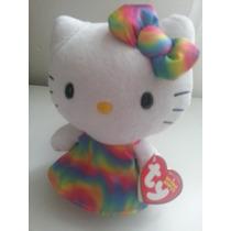 Hermoso Peluche De Hello Kitty Marca Ty Vestido Colores!