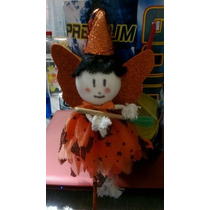 Halloween, Pluma De Bruja, Tinta Y Vestido Naranj Nueva Vbf