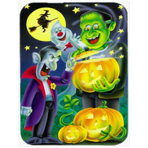 Halloween Con Drácula Y Frankenstein De Cristal Tabla De Co