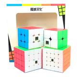 Paquete 4 Cubos Rubik Moyu Mofangjiaoshi 2x2, 3x3, 4x4, 5x5