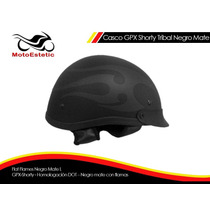 Casco Gpx Shorty Tribal/ Flat Flames Negro Mate L