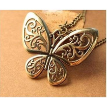 Collar Cadena Dije Vintaje Moda Asiatica Largo Mariposa Econ