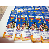 30 Invitaciones Personalizada Ticket Monster Impresa Infanil