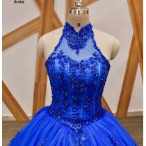 Vestido De Xv 15 Años Azul Rey Escote Halter Importado En