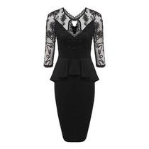 Vestido Tipo Lapiz Negro Con Encaje En Venta En Guadalajara