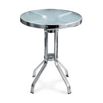 Mesa De Aluminio Con Cubierta De Cristal Bares Yb-501