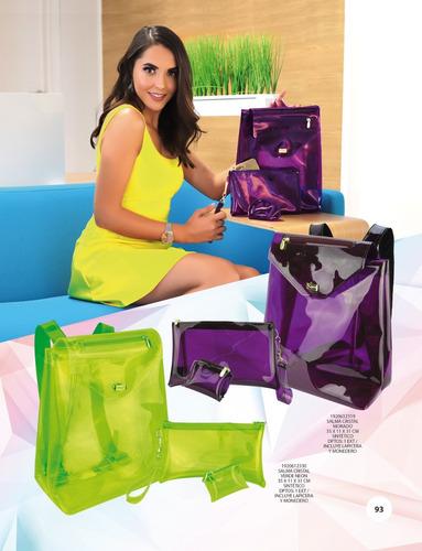 acbb47e4c Mochila Transparente Neon + Cosmetiquera + Monedero Plastico en ...