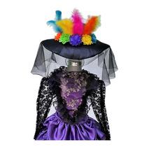 Disfraz Talla 2 Año Catrina Morada Niñas Sombrero Halloween