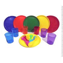 Set Platos, Cubiertos Y Vasos Colores 12 Personas
