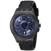 Swatch Ytb400 Fecha Esfera Negra Resina Reloj De Cuarzo Men
