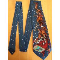 Corbata Navidad Santa En Trineo Color Azul!! Corb24