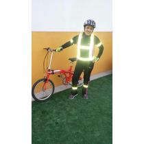 Kit Chaleco Arnés Brazalete Reflejante Ciclista Verde