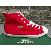 Tenis Lacoste,bota,lona Roja,suela Antiderrapante,para Dama.