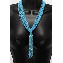 Collar De Piedra Tela Azul Cuarzos Ccpn176