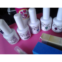 Kit 5 Gelish Lampara 36 Uv Limas Primer Sanitizante Aceite C