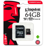 Memoria Microsd 64gb Kingston Sdcs/64gb 80r Uhs-i Clase10
