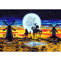 Lienzo Tela Don Quijote Y Sancho, E. M. Simón 68 X 98 Cm